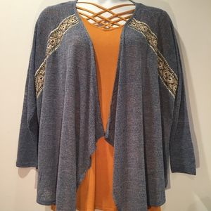 New Flying Tomato Plus Size Blue Cardigan